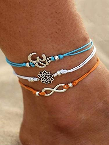 Digital Dress Room (Set of 3) Oxidized Silver Plated Om Lotus Flowers & Infinite Multi-Colour Thread Hand Made Adjustable Size Anklets for Girls & women