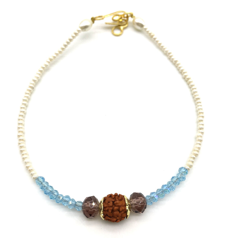 Blue and White Beads with Rudraksha Bracelet