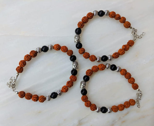 Digital Dress Room (Set of 3) Rudraksha Designer Rakhi for Men Silver Black Bead Buddha Charm Link Chain Adjustable Rakhi