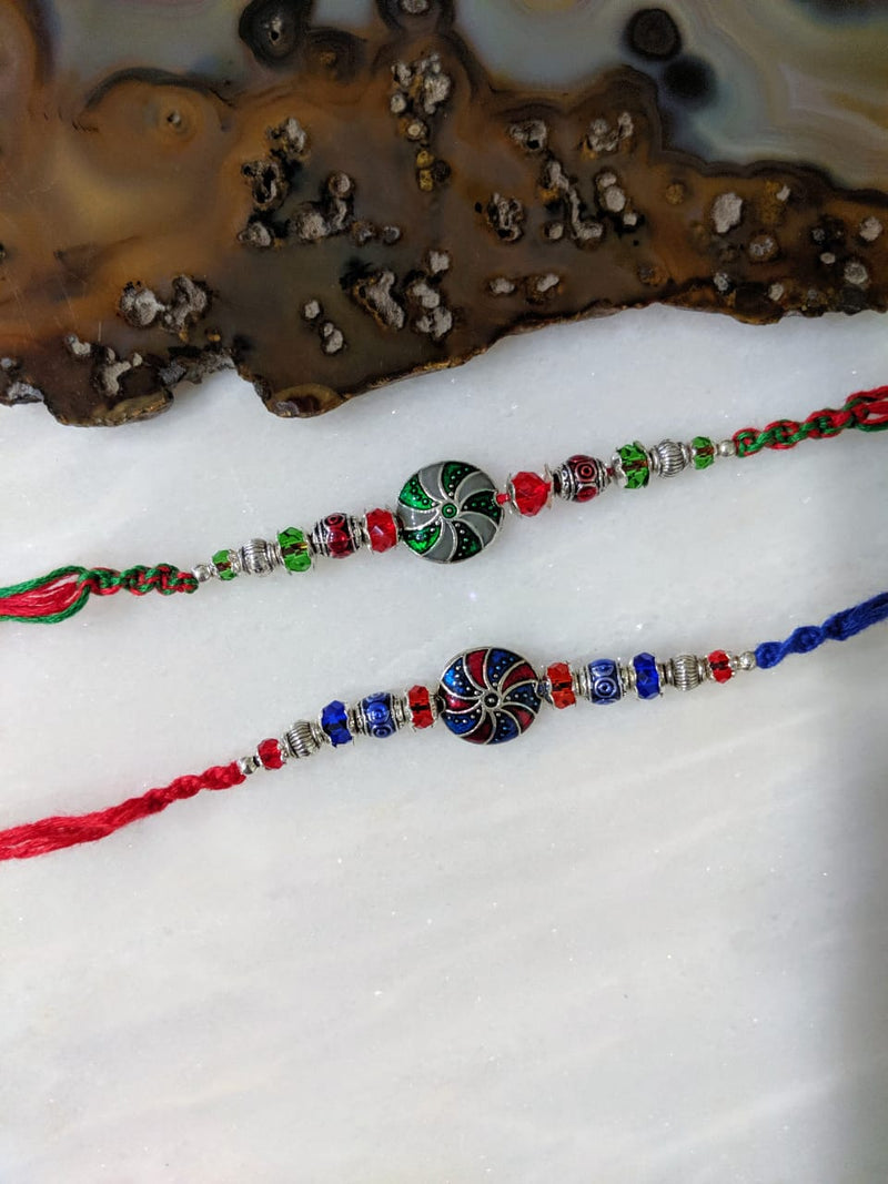 (Set of 2) Tibetan Rakhi for Men Silver Plated Multicolor Gemstone Rakhi - DigitalDressRoom