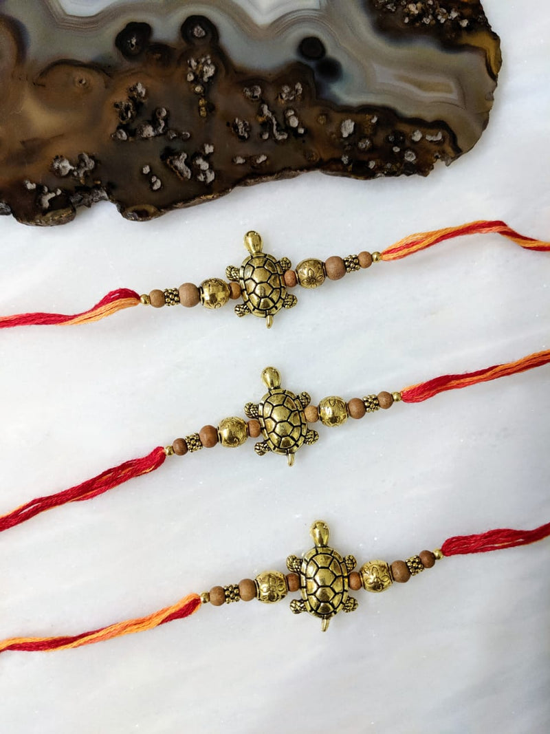 Digital Dress Room (Set of 3) Tortoise Rakhi for Men Gold Plated Multicolor Thread Rakhi