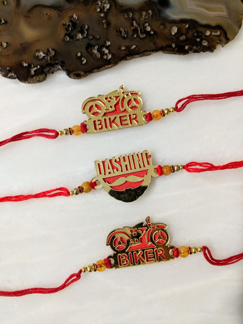 Digital Dress Room (Set of 3) Golden Rakhi with Dashing/ Biker Slogan Beads Red Thread Rakhi For Men