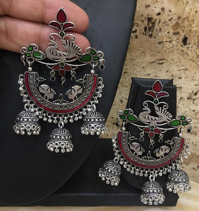 Designer Oxidized Silver Afghani German Stylish Dangle Drop Peacock Bells Jhumki Earring