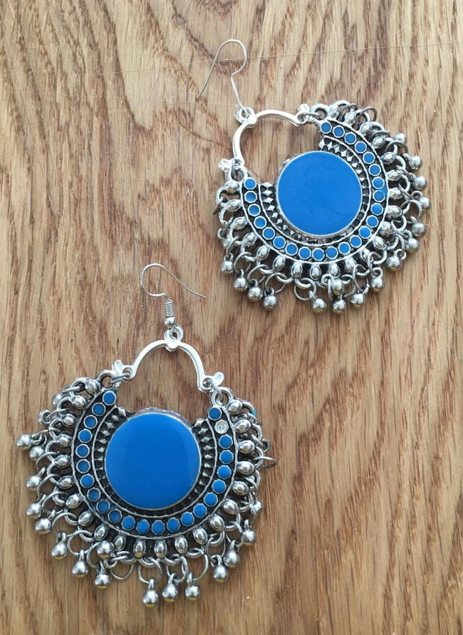 Navratri Earring Traditional Bohemian Antique Metal Kashmir Tribal German Oxidized Afghani Silver Chand Hook Earrings Ghungroo Blue Enamel Work Chandbali Earrings for Women and Girl