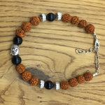 Digital Dress Room Rudraksha Buddha and Black Pearls Rakhi Bracelets