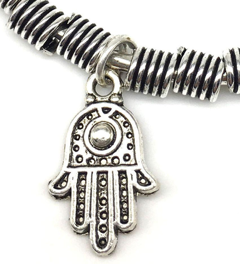 Digital Dress Room Silver Handcrafted Hamsa Charm Bangle