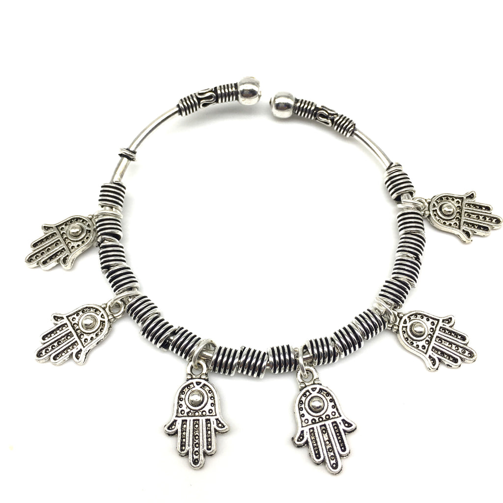 Silver Handcrafted Hamsa Charm Bangle