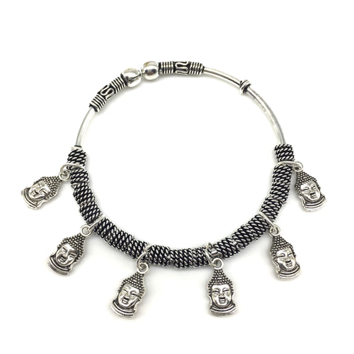 Digital Dress Room Silver Small Buddha Charm Bangle
