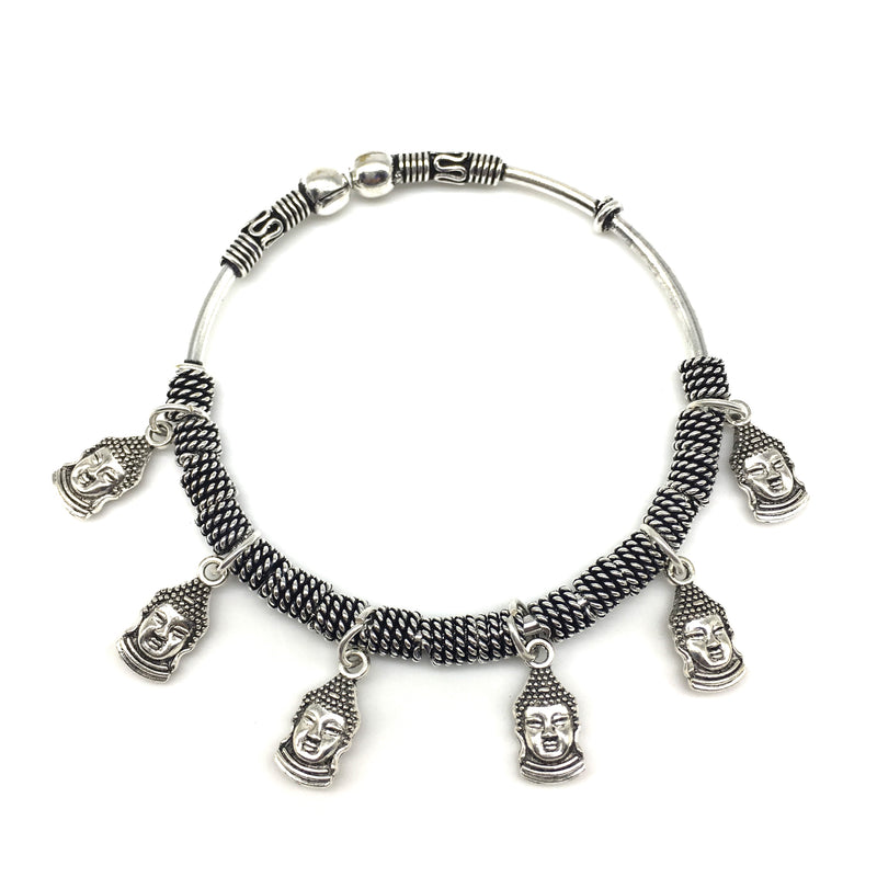 Silver Small Buddha Charm Bangle