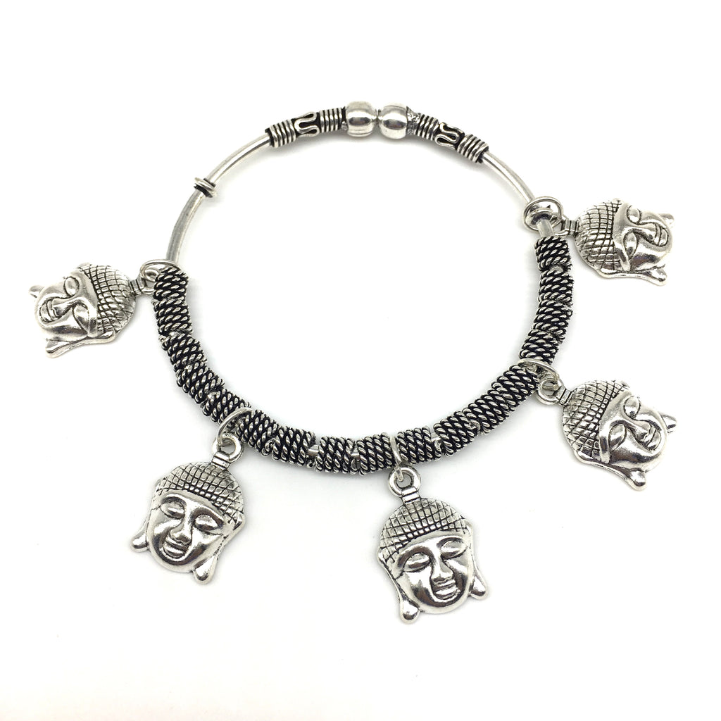 Silver Buddha Charm Bangle
