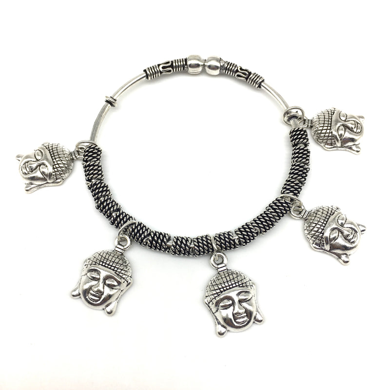 Digital Dress Room Silver Buddha Charm Bangle