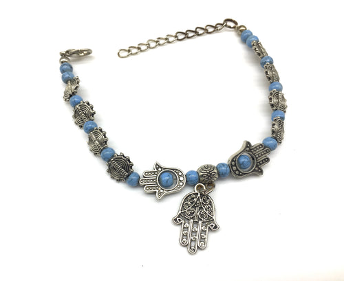 Digital Dress Room Blue Beads and Hamsa Hand Charm Bracelet