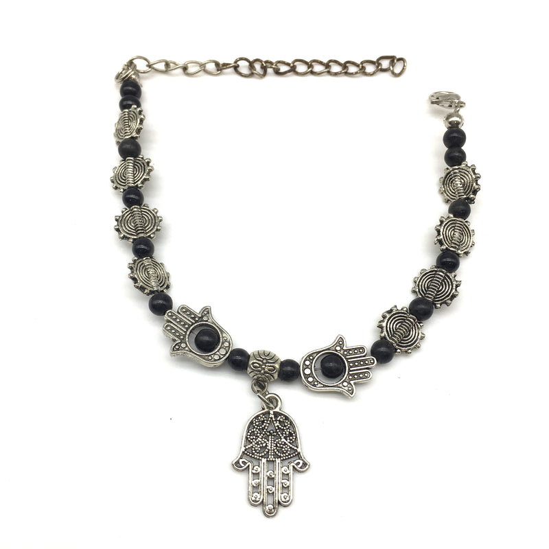 Digital Dress Room Black Beads and Hamsa Hand Charm Bracelet