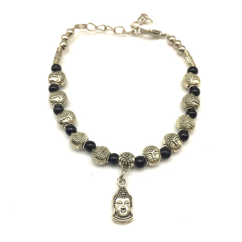 Digital Dress Room Black Beads and Buddha Charm Bracelet