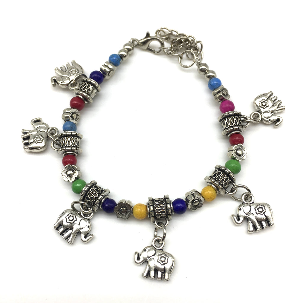 Multi color Beads With Silver Elephant Charm Bracelet - DigitalDressRoom