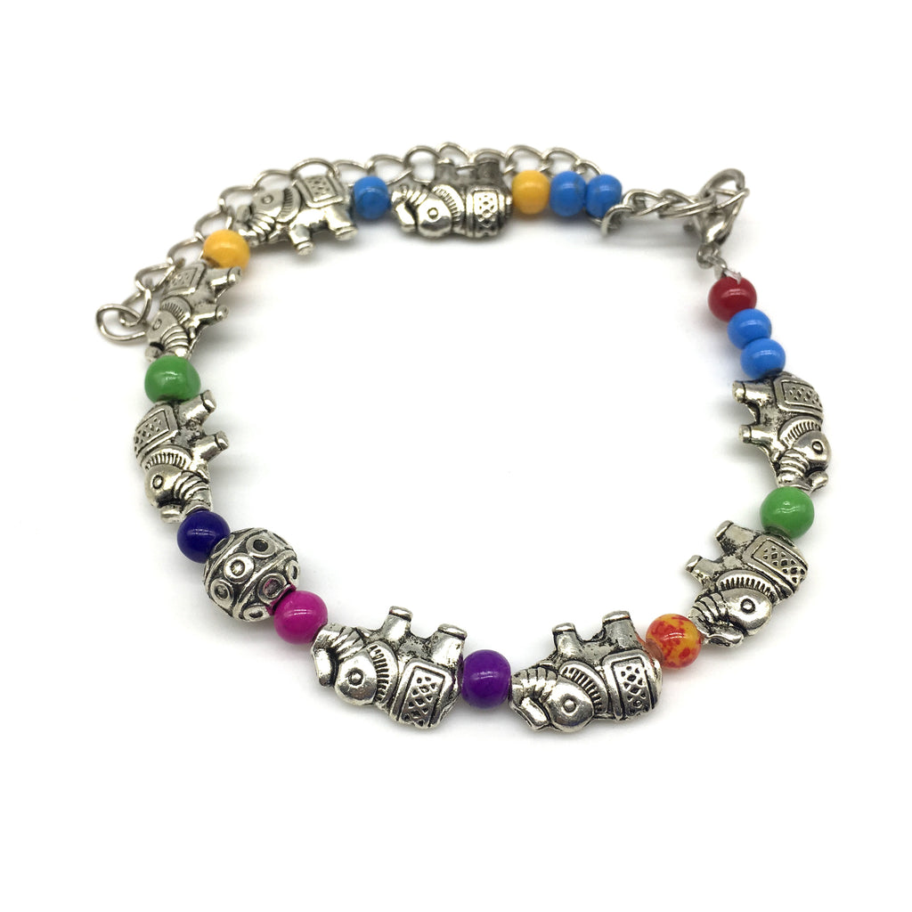 Multi color Beads With Silver Elephant Bracelet