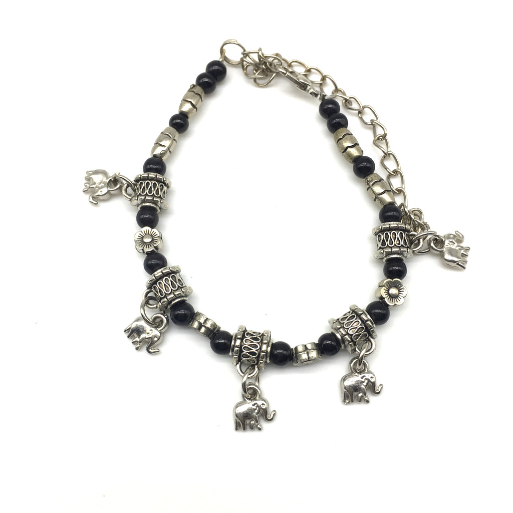 Black and Silver Beads with Elephant Charm Bracelet