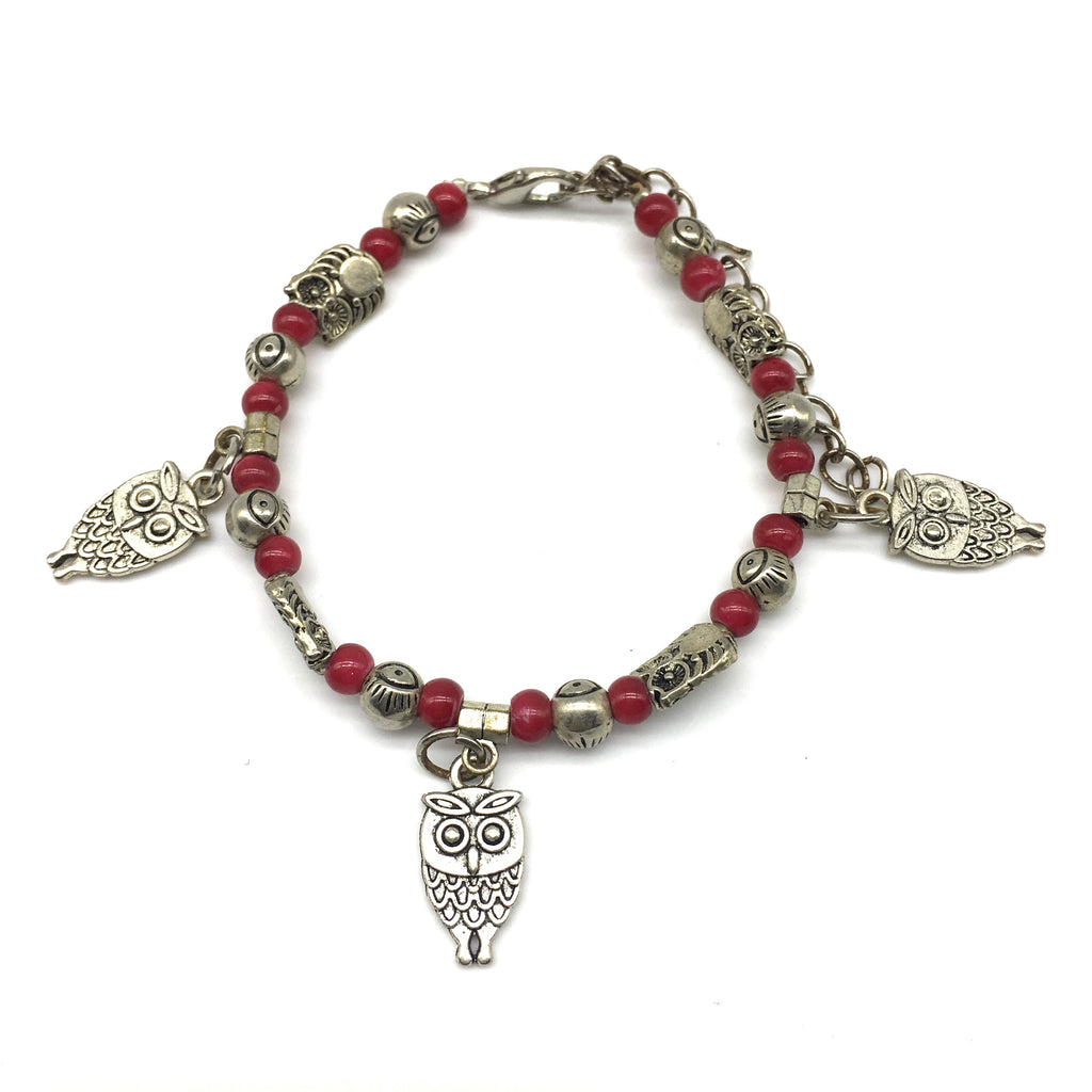 Red and Silver Beads with Silver Owl Charm Bracelet