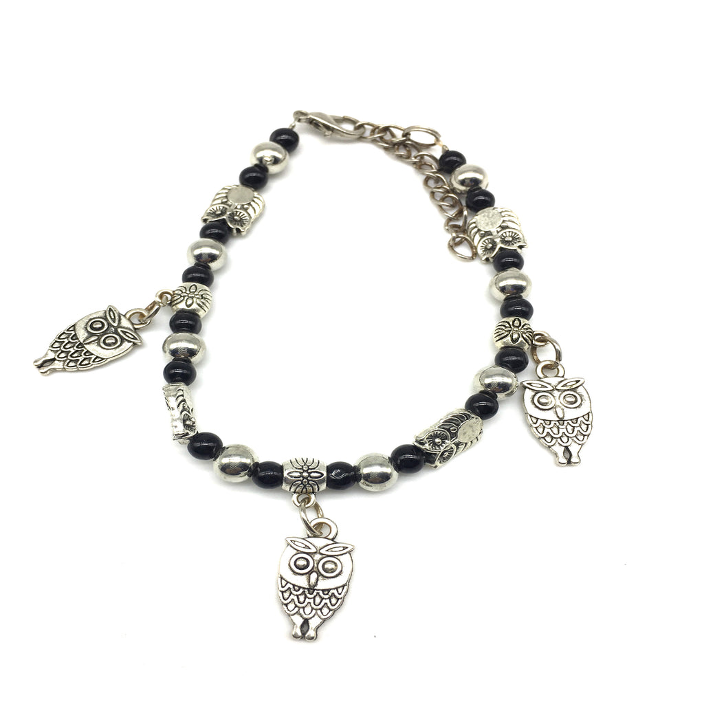 Owl Charms Black and Silver Beads Bracelet