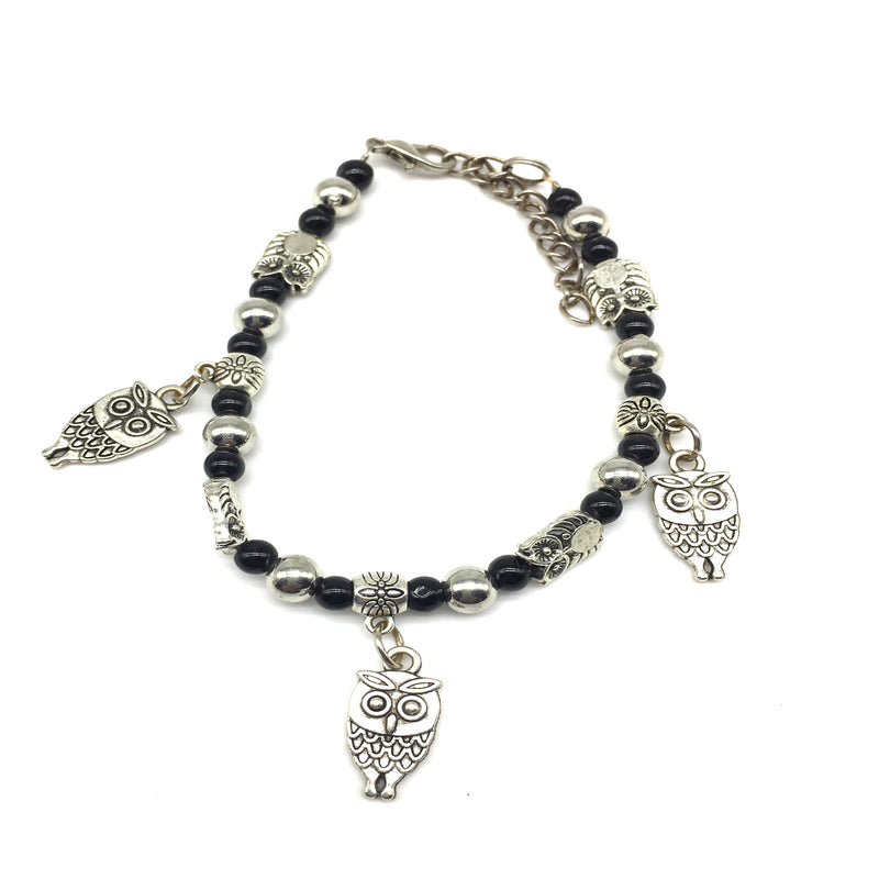 Digital Dress Room Owl Charms Black and Silver Beads Bracelet
