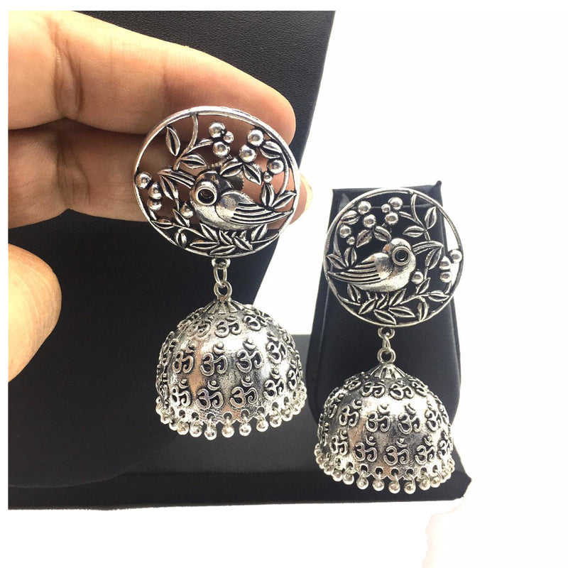 Digital Jhumki Earrings for Women Designer Oxidised Silver Earring Afghani Tribal Boho Vintage German Silver Stylish Party Wear Dangle Drop Earrings Jaipuri Tribal Bird Statement Jhumka Jhumki Earring