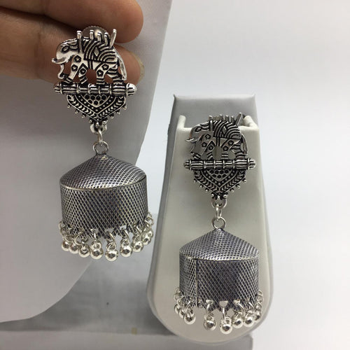 Digital Dress Room Oxidised Silver Elephant Shape Jhumkas