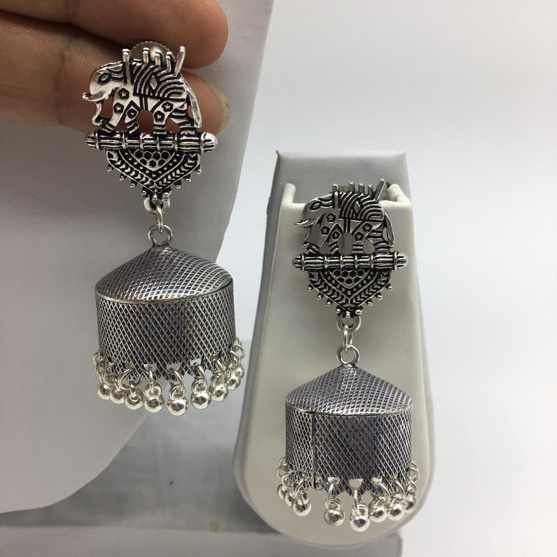 Oxidised Silver Elephant Shape Jhumkas - DigitalDressRoom