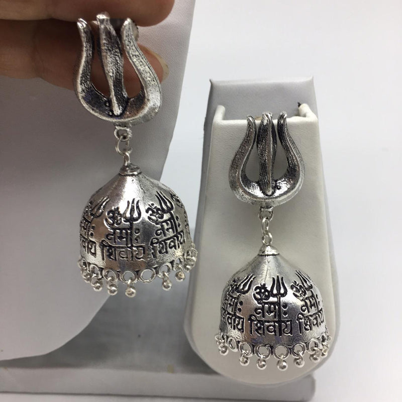 Jaipuri Tribal Om Namah Shivay Silver Khumki Earrings - DigitalDressRoom