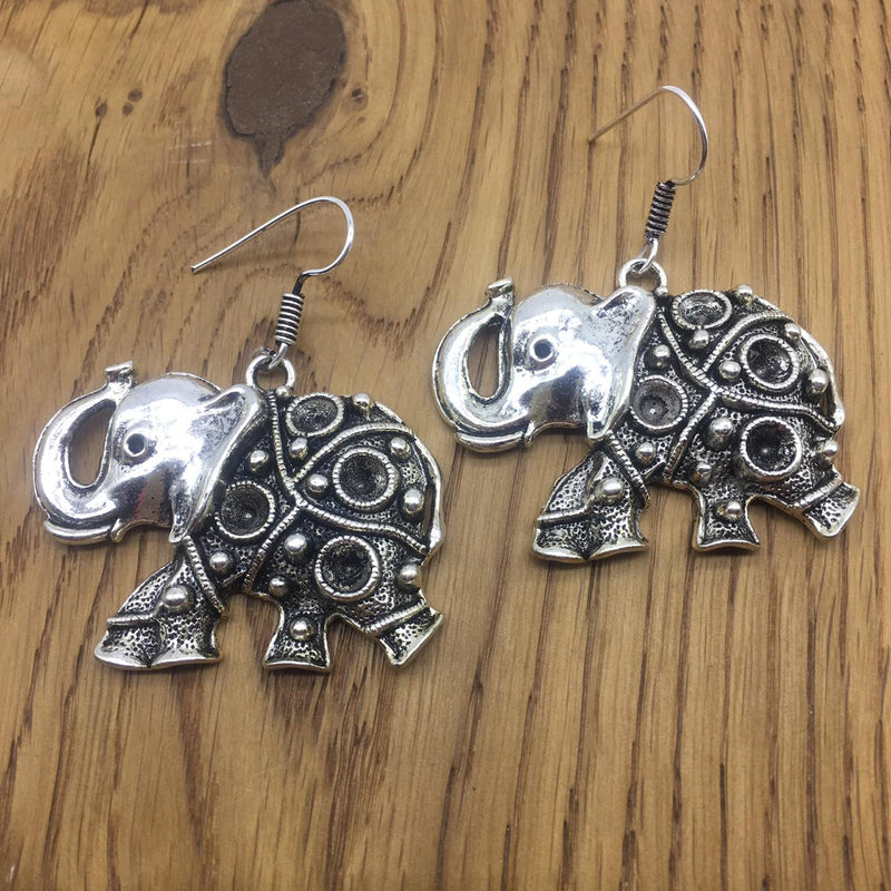Digital Jhumki Earrings for Women Designer Oxidised Silver Earrings Afghani Tribal Bohemian German Silver Stylish Party Wear Dangle Drop Earrings Jaipuri Tribal Elephant Animal Antique Jewellery