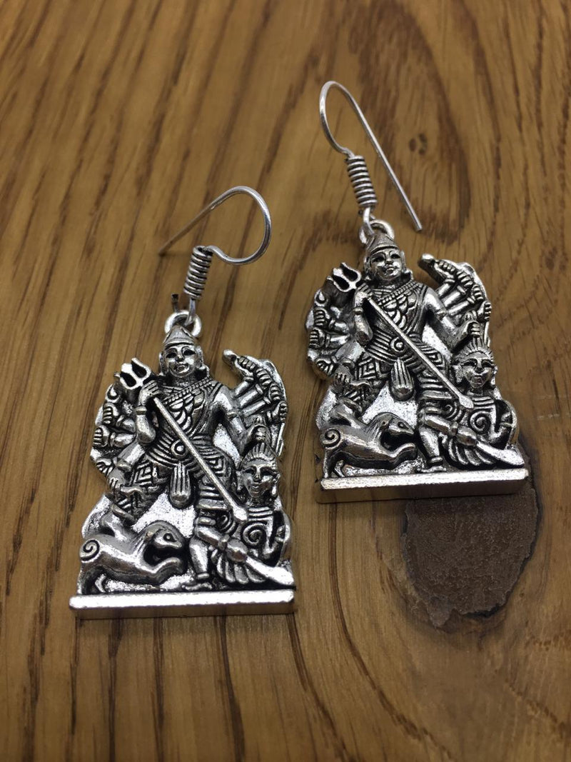 Antique Oxidised German Silver plated Earring