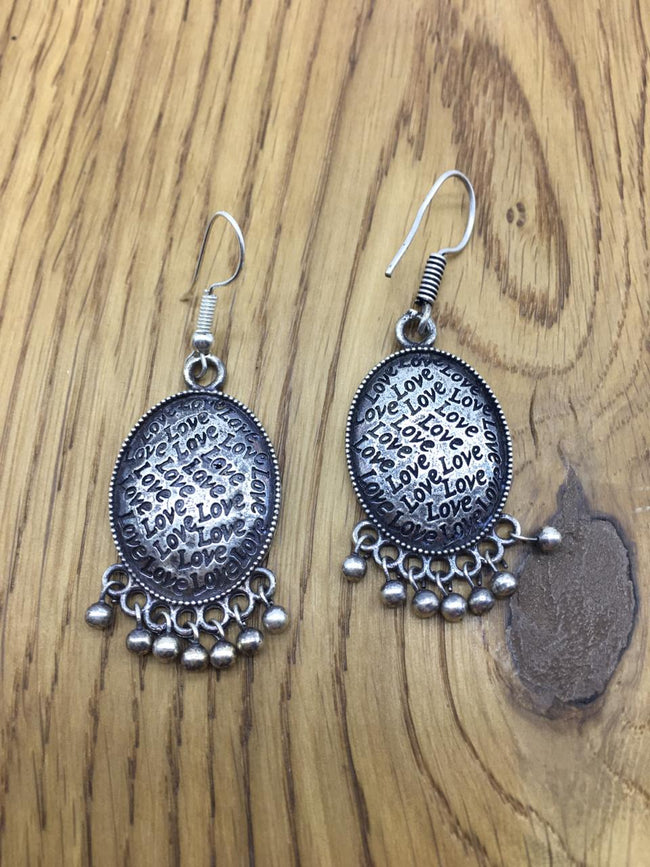 Designer Oxidised Silver Earring Afghani Tribal Bohemian German Silver Stylish Dangle Drop Earrings Jaipuri Tribal Love Cute Round Light Antique Jewellery