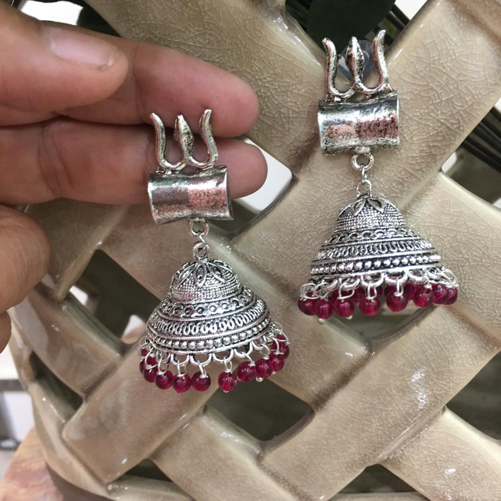 Digital Jhumki Earrings for Women Designer Oxidised Silver Earrings Afghani Tribal Bohemian Oxidised German Silver Stylish Party Wear Dangle Drop Earrings Jaipuri Tribal Om Trishul Antique Jewellery