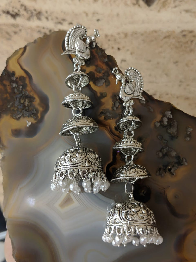 Digital Dress Room Afghani Oxidized Jaipuri Tribal Peacock Antique Jhumki Earrings