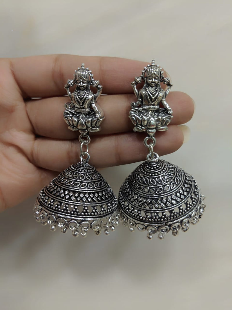 Digital Jhumki Earrings for Women Designer Oxidised Silver Earrings Afghani Tribal Bohemian Oxidised German Silver Stylish Party Wear Dangle Drop Earrings Jaipuri Tribal Laxmi Antique Jewellery