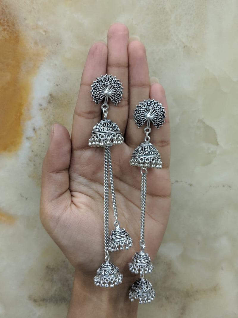 Digital Jhumki Earrings for Women Designer Oxidised Silver Earrings Afghani Tribal Bohemian Oxidised German Silver Stylish Party Wear Dangle Drop Earrings Jaipuri Tribal Peacock Mor Antique Jewellery