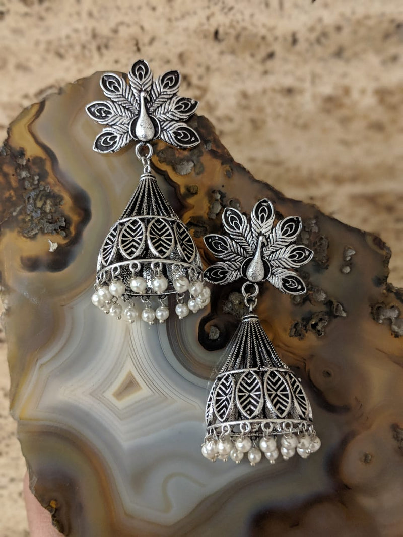 Jaipuri Tribal Peacock Pearl Antique Jhumki Earrings - DigitalDressRoom