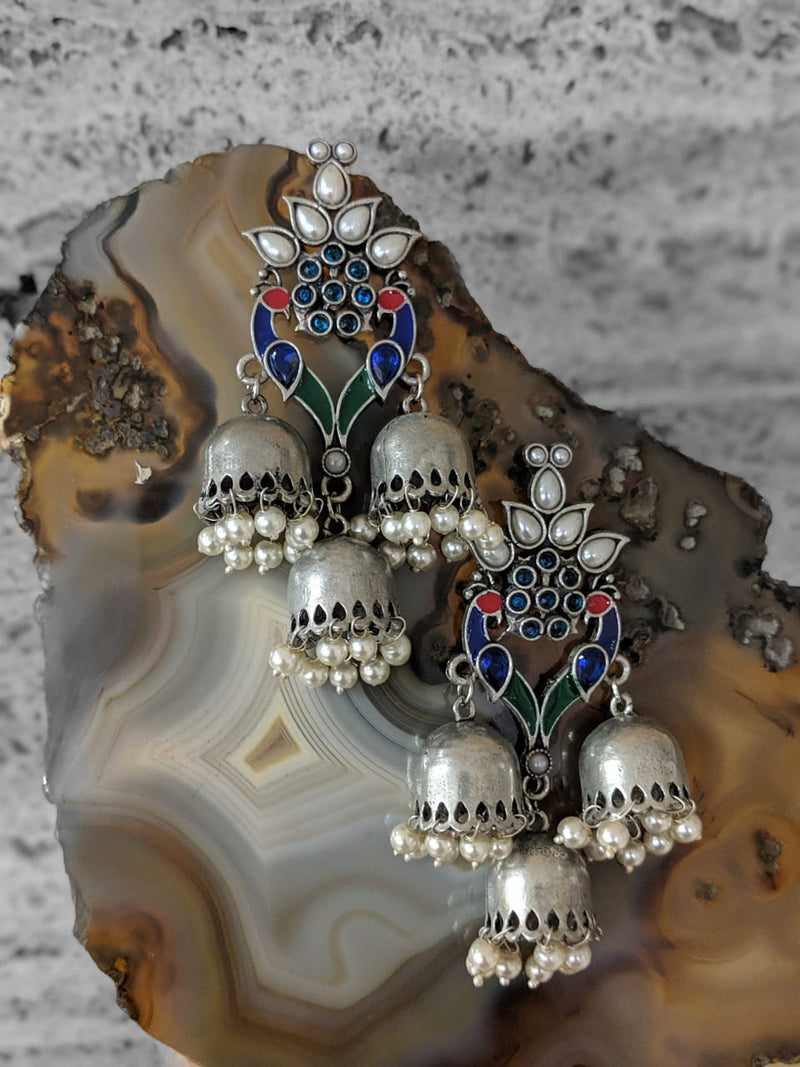 Digital Jhumki Earrings for Women Designer Oxidised Silver Earrings Afghani Tribal Bohemian Oxidised German Silver Stylish Party Wear Dangle Drop Earrings Jaipuri Tribal Meenakari Antique Jewellery