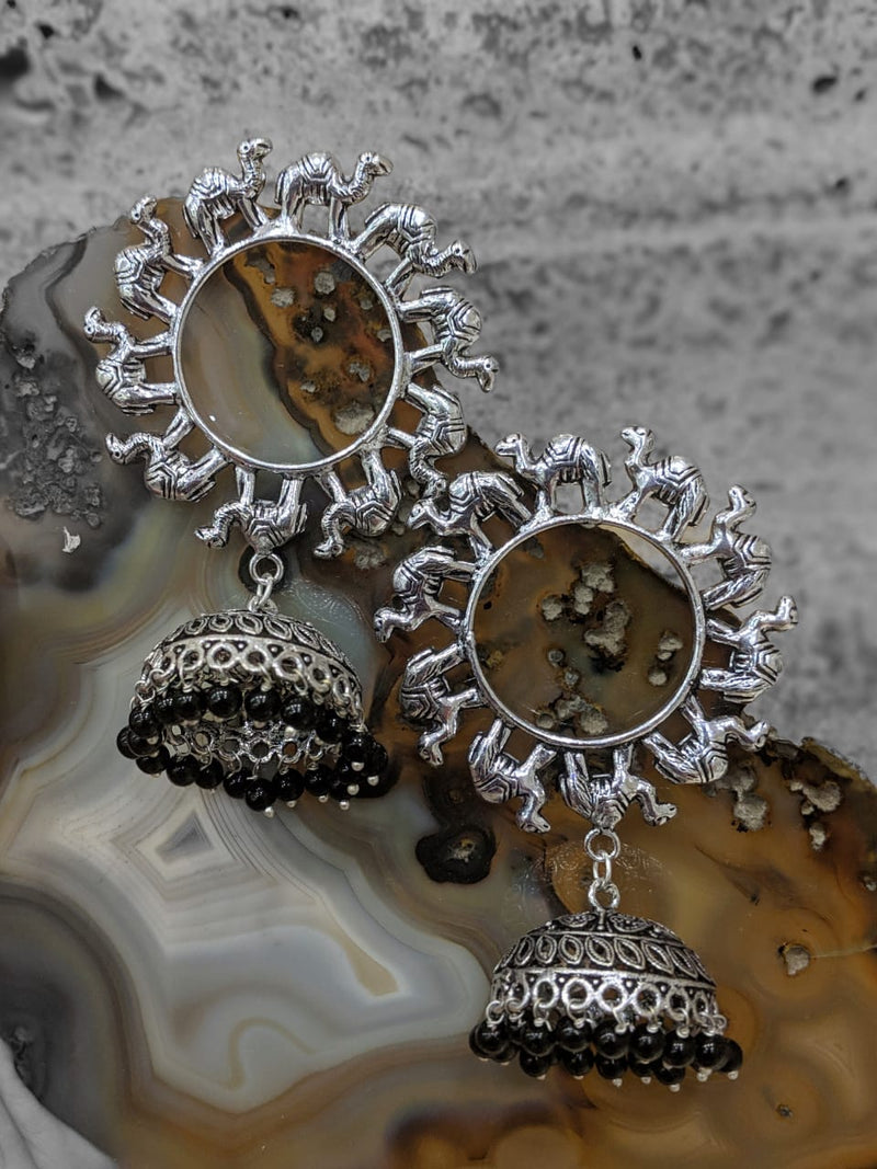 Oxidised Silver Jaipuri Tribal Camel Animal Antique Jhumki Earrings - DigitalDressRoom
