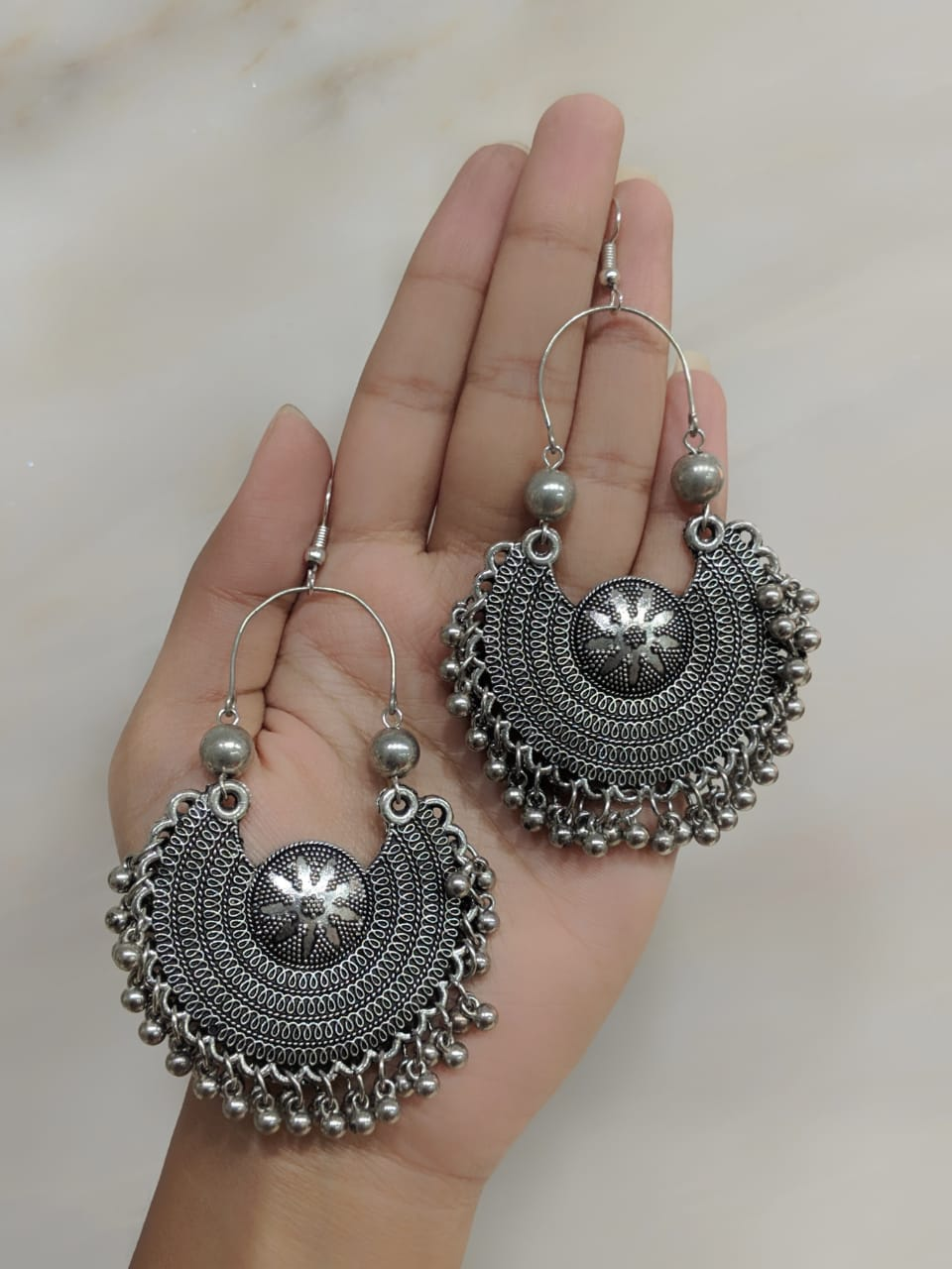Digital Jhumki Earrings for Women Designer Oxidised Silver Earrings Afghani Tribal Bohemian Oxidised German Silver Stylish Party Wear Dangle Drop Earrings Jaipuri Tribal ghungroo Antique Jewellery