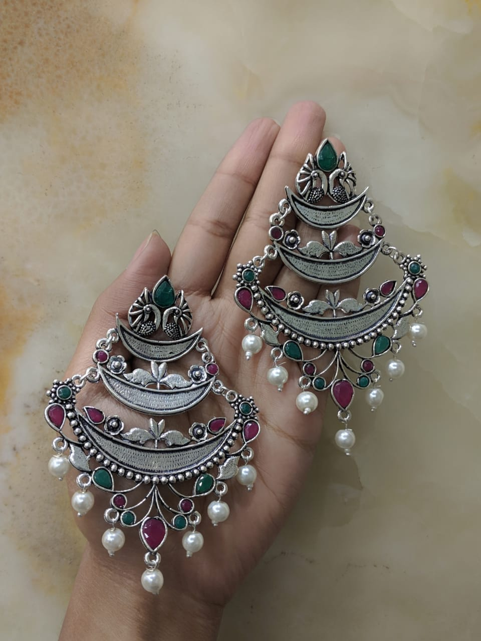 Digital Jhumki Earrings for Women Designer Oxidised Silver Earring Afghani Tribal Bohemian German Silver Stylish Party Wear Dangle Drop Earrings Jaipuri Tribal Peacock Emerald Pearl Antique Jewellery
