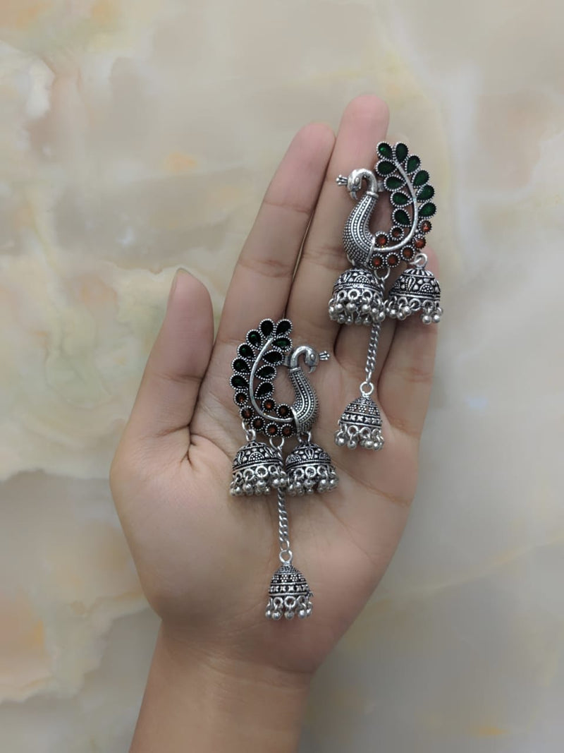 Oxidized Silver Plated Tribal Peacock Bells Antique Jhumki Earring