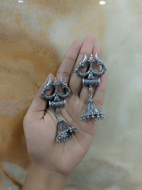 Digital Dress Room Oxidized Silver Afghani Tribal Om Trishul Tabla Antique Jhumki Earrings