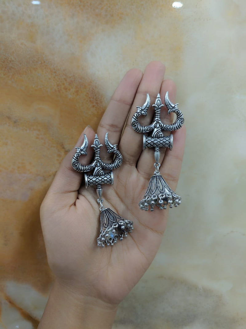 Oxidized Silver Afghani Tribal Om Trishul Tabla Antique Jhumki Earrings - DigitalDressRoom