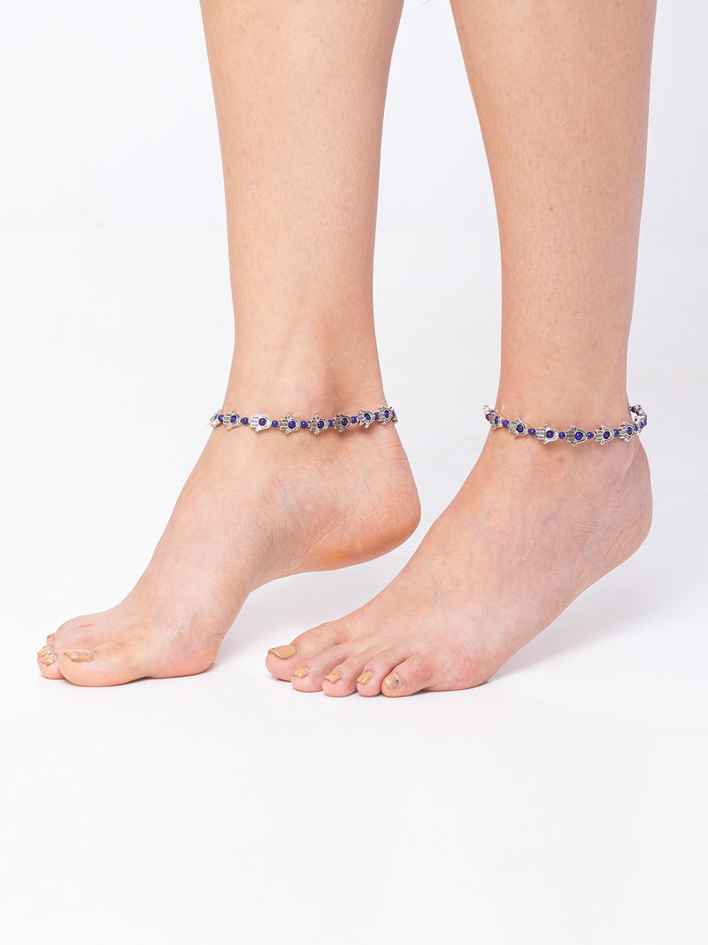 Digital Dress Room Silver Hamsa Payal Anklet with Beads