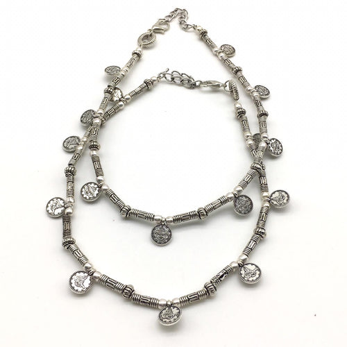 Digital Dress Room Delicate Silver Coin Payal Anklet