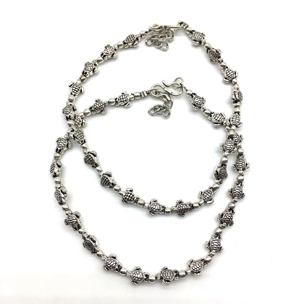 Silver Turtle Payal Anklet