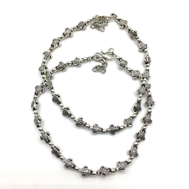 Silver Turtle Payal Anklet - DigitalDressRoom