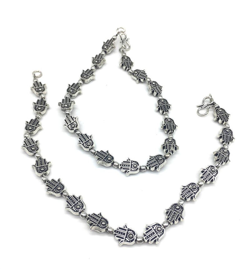 Digital Dress Room Silver Plated Anklets with Alloy Fancy German Antique Oxidised Silver Beaded Hamsa Anklet Payal