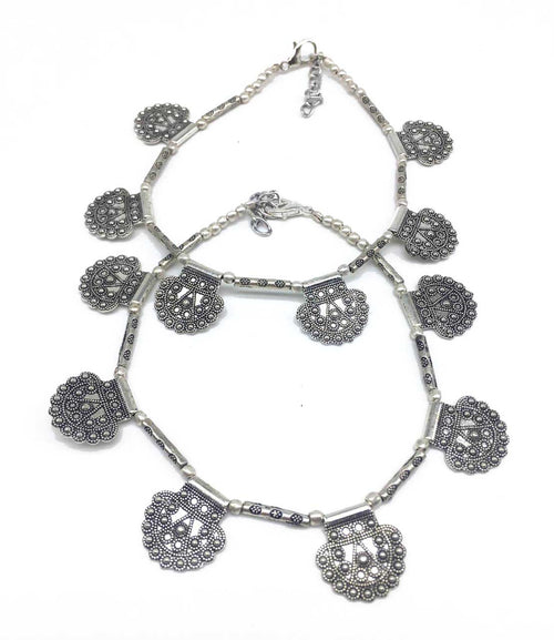 Digital Dress Room Silver Plated Anklets with Antique Oxidised Silver Bead Designer Anklets Payal