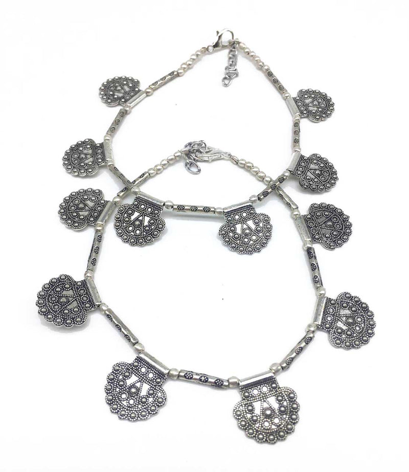 Silver Plated Anklets with Antique Oxidised Silver Bead Designer Anklets Payal - DigitalDressRoom